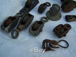 15 Antique Vintage Rope Pulleys Nautical Barn Old Window Steampunk