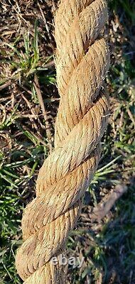 180 Feet! Vintage Farm Barn Rope 1+ Heavy Antique 100+ Years Old. 47 Pounds! Nice