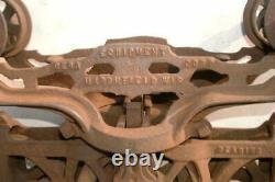 1800's Cast Iron Hay Trolley Barn/Farm Pulley Traveler BERQ EQ MARSHFIELD WIS