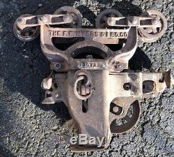 1908 FE Meyers & Bro Clover Leaf H422 Ashland OH Cast Iron Hay Trolley Unloader