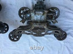 2 Antique Cast Iron Hay Trolley Barn Carrier Myers Unloader