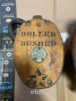 (2) Antique STAR Wood Iron Triple BLOCK 3 wheels TACKLE PULLEY Roller Bushed LOT