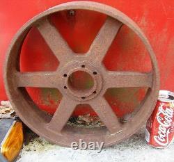 # 2 Antique USA Cast Iron Art Trolley Cart Castor Wheel Garden Urn Door Doorstop