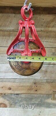 2 Antique Vtg Cast Iron Hudson Mall 823 Barn Hay Trolley Pulley. One Restored