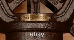 2 BRASS TAGS, Beautiful Vintage Myers CLOVERLEAF Hay Trolley Carrier Pulley