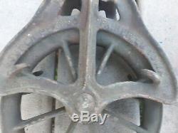 2 Vintage Large Heavy Louden Mchy Fairfield Iowa Cast Iron Farm Barn Hay Pulley