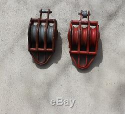 2-Western Block Co. 6000 LB. 3 pulley Block and Tackle 3/4'' Rope Size