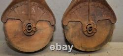 2 antique barn pulley collectible farm tool hay trolley part industrial lot P2
