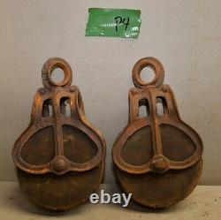 2 antique barn pulley collectible farm tool hay trolley part industrial lot P4