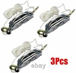 (3) 2 Ton Poly Rope Hoist Pulley Wheel Block and Tackle Puller Lift Tools Hanger