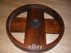 34 diameter Large Antique Wooden Flat Belt Pulley CHANDELIERThrashing Machine