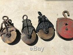 4 Antique Vintage MYERS Hudson Wood & Iron Well Pulleys Rustic Farm Decor