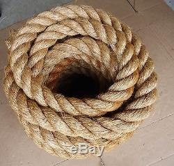 55 ft vtg hemp rope, boat anchor, barn pulley block tackle, nautical craft. UNUSED