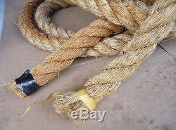 55 ft vtg hemp rope, boat anchor, barn pulley block tackle, nautical craft. UNUSED