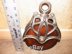 ANTIQUE BARN PULLEY CAST IRON WOOD HAY TROLLEY TOOL PRIMITIVE BARN FIND