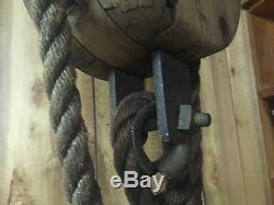 ANTIQUE BLOCK TACKLE PULLEY HEMP ROPE LONG PRIMITIVE EXTRA PULLEY with LATCH