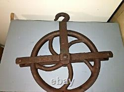 ANTIQUE CAST IRON WELL ROPE BARN FARM HAY WHEEL PULLEY Marked Anvil