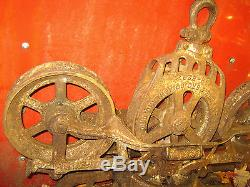 ANTIQUE COUNTRY BARN TOOL PRIMITIVE CAST IRON HAY WHEEL TROLLEY CART ART STATUE