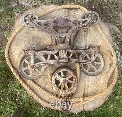 ANTIQUE F. E MYERS TIMBER HAY TROLLEY 7 Inch Sheaves With Rope