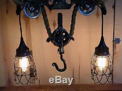 ANTIQUE HAY TROLLEY DROP PULLEY CHANDELIER PORTER TIMBER RUNNER