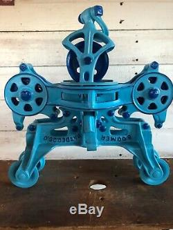 ANTIQUE ORIGINAL RESTORED BOOMER HAY TROLLEY And DROP PULLEY