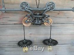 ANTIQUE ORIGINAL RESTORED MYERS HAY TROLLEY RUSTIC LIGHTING BARN DECOR WithTRACK