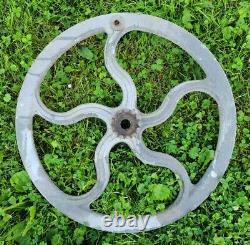 Antique 18 Rustic Farm Implement Industrial Pulley Wheel Steampunk Decor Gear