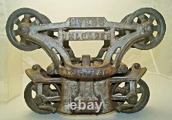 Antique 1800s Cast Iron Advertising MYERS UNLOADER Hay Trolley FARM PRIMITIVE