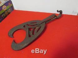 Antique 1870 A J Nellis Adjustable Barn Rafter Grapple-Pulley Hook Log