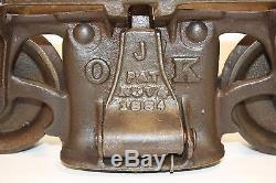 Antique 1884 FE Myers & Bro OK Hay Trolley Unloader Cast Iron Pulley Farm Barn
