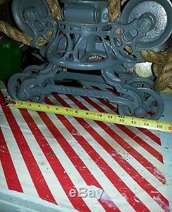 Antique 1884 Myers Ashland Ohio Barn Hay Trolley Unloader Iron Pulley Rare