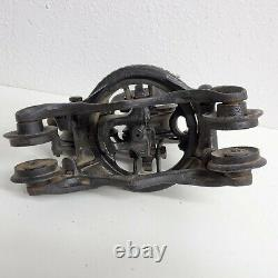 Antique 1890s Louden Junior Barn Farm Hay Trolley Carrier with Pulley Cast Iron