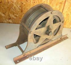 Antique 1900's Cast Iron Elevator Cable Pulley Assembly Dual Wheels Very Rare