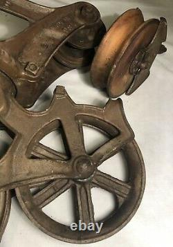 Antique 1900s LOUDEN Machinery Senior HAY Carrier BARN Trolley Pulley Fairfield