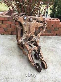 Antique 8 Wheel Ney Hay Tool Cast Iron Trolley Barn Farm Carrier Canton Ohio
