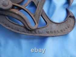 Antique A. J. Nellis Pittsburgh PA Cast Iron barn Hay Tongs & Hay Trolley