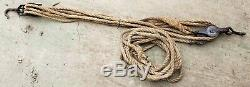 Antique BLOCK & TACKLE System 3 Triple Wheel Pulleys Hooks, 58' x. 75 Barn Rope