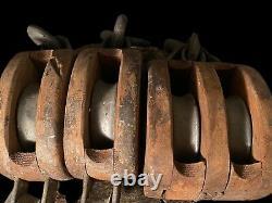 Antique BOSTON & LOCKPORT Block Co Tackle Wood Iron Pulley Set Star Logo