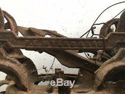 Antique Barn Hay Cast Iron Farm Pulley Carrier Trolley Ashland Ohio w Trip Block