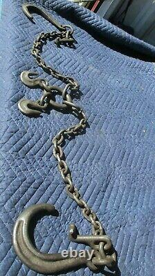 Antique Barn Industrial Steel Iron Chain with Hooks Steampunk Logging 6' ft