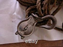 Antique Block and tackle with two pulleys, Heavyweight rope, Metal, Rustic Decor
