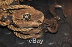 Antique Boston and Lockport Co. Wood Block and Tackle with Old Rope Barn Pulley