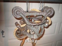 Antique CLIMAX hay trolley Light barn pulley cast iron farm tool carrier PAT APL