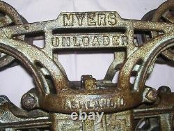 Antique Cast Iron F E MYERS Farm Hay Trolley Pulley Barn Find Ashland H-249