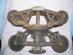 Antique Cast Iron F E Myers Barn Hay Trolley Unloader Pulley Name Plate Find