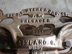 Antique Cast Iron F E Myers Bro Co H-321 OK Unloader Ashland Hay Trolley Pulley