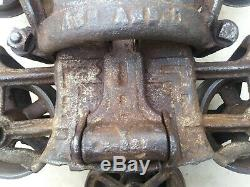 Antique Cast Iron F. E Myers Hay Trolley With Latching Pully Excellent Patina