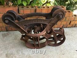 Antique Cast Iron Hay Trolley Barn Carrier Louden Senior Vintage Farm Tool