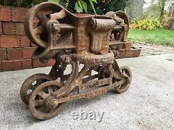 Antique Cast Iron Hay Trolley Barn Carrier Myers Unloader Ashland Ohio Farm Tool