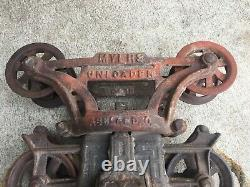 Antique Cast Iron Hay Trolley Barn Carrier Myers Unloader Ashland Ohio Pulley